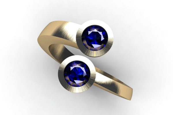 Two Stone Round Sapphire 18ct Gold Ring Design by Robert Feather Jewellery