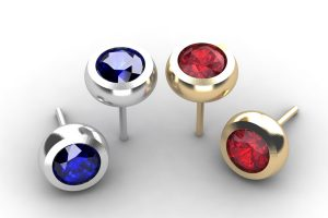 Round Sapphire & Ruby 18ct White Gold Ear Stud Designs by Robert Feather Jewellery