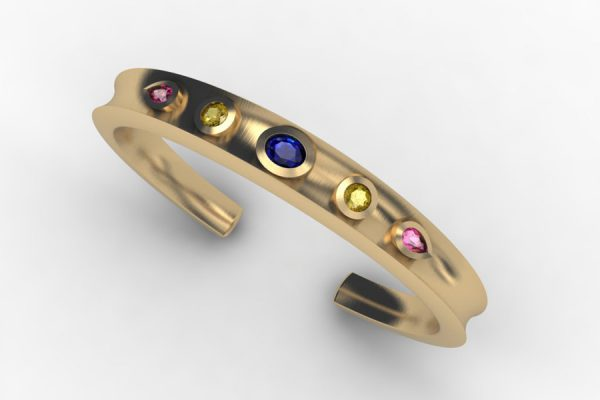 Torque Sapphire & 18ct Yellow Gold Bangle Design by Robert Feather Jewellery