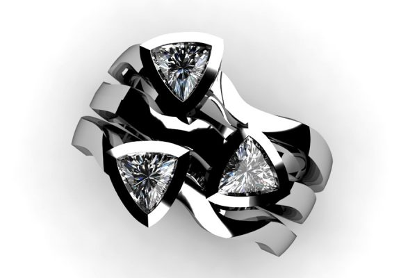Three Stone Trillion Cut Diamond Platinum Ring Design by Robert Feather Jewellery