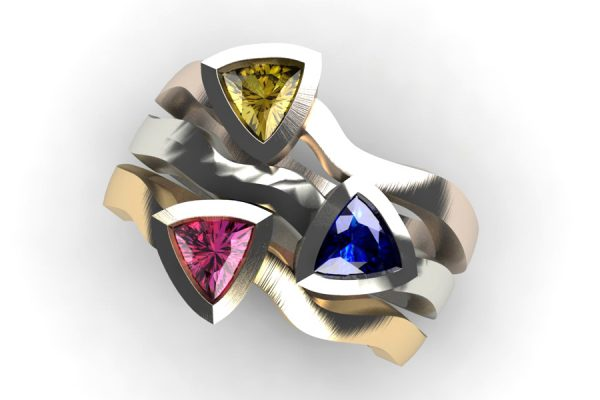 Three Stone Trillion Sapphire 18ct Gold Stacking Ring Design by Robert Feather Jewellery