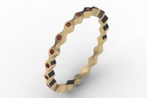 Wave Design Ruby Set 18ct Gold Bangle by Robert Feather Jewellery