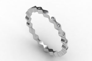 Wave Design Diamond Set Platinum Bangle by Robert Feather Jewellery