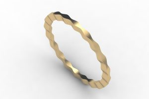 Wave Design 18ct Gold Bangle by Robert Feather Jewellery