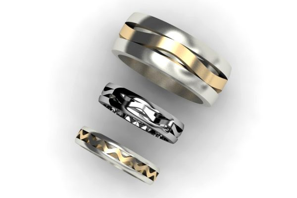Harmonic Wave Shaped Platinum, 18ct Gold & Silver Rings by Robert Feather Jewellery