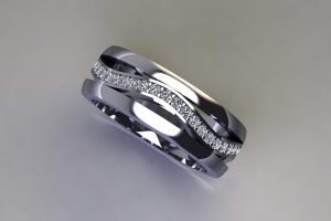 Diamond Set Platinum Stacking Ring Design by Robert Feather Jewellery