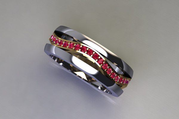Ruby Set 18ct Yellow & White Gold Stacking Ring Design by Robert Feather Jewellery