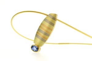 Oval Sapphire 18ct Striped Coloured Gold Necklace by Robert Feather Jewellery