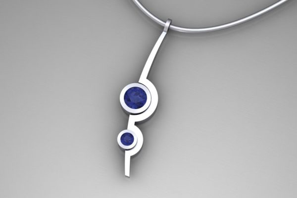 Two Cup Design Tanzanite 18ct White Gold Necklace by Robert Feather Jewellery