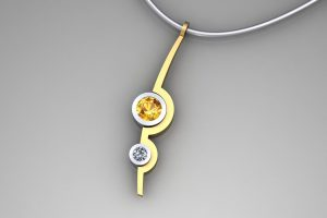 Two Cup Design Yellow Sapphire & Diamond 18ct Gold Necklace by Robert Feather Jewellery