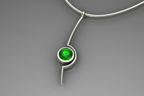Cup Design Tsavorite 18ct White Gold Necklace by Robert Feather Jewellery