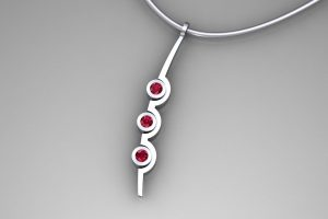 Three Cup Design Ruby 18ct White Gold Necklace by Robert Feather Jewellery