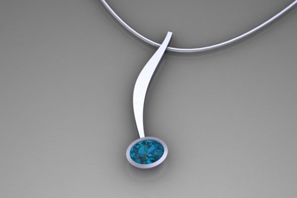 Curved Bar Design Oval London Blue Topaz Silver Necklace by Robert Feather Jewellery