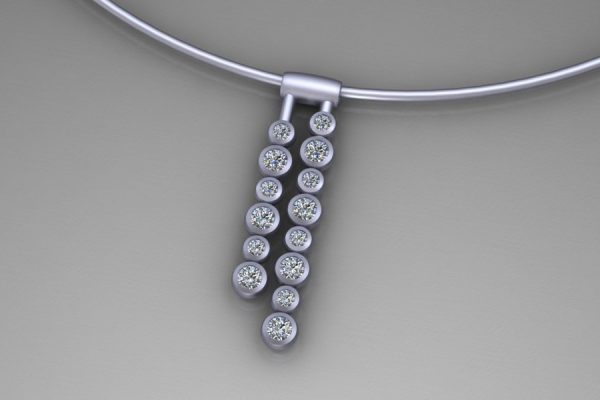 Droplet Design Diamond 18ct White Gold Necklace by Robert Feather Jewellery