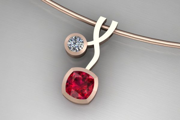 Cushion Ruby & Diamond Red Gold Weave Necklace Design by Robert Feather Jewellery