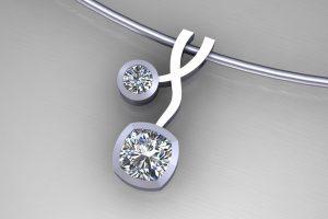 Weave Design Cushion & Round Diamondl 18ct White Gold Necklace