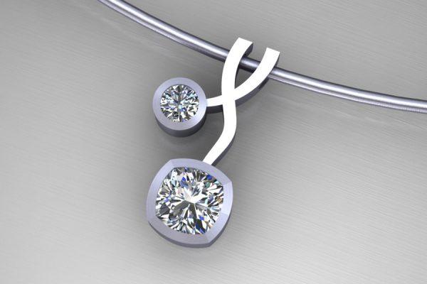 Cushion & Round Diamond Platinum Weave Necklace Design by Robert Feather Jewellery