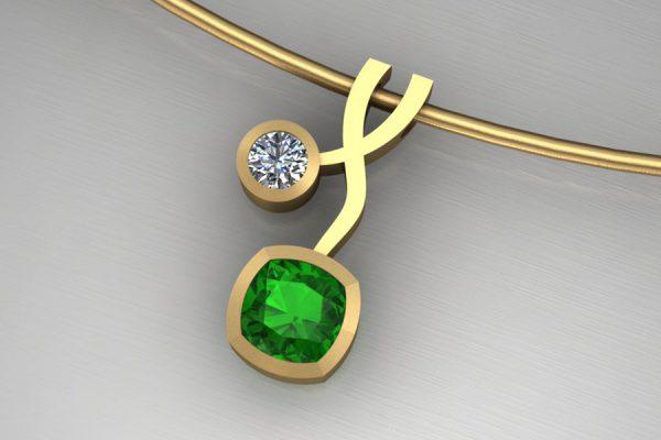Cushion Tsavorite & Diamond Yellow Gold Weave Necklace Design by Robert Feather Jewellery