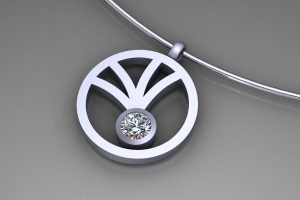Round Open Frame Diamond 18ct White Gold Necklace Design by Robert Feather Jewellery