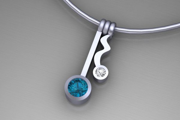 Wiggle Design Silver Necklace with 4mm London Blue Topaz & 2mm White Sapphire : Length 19mm