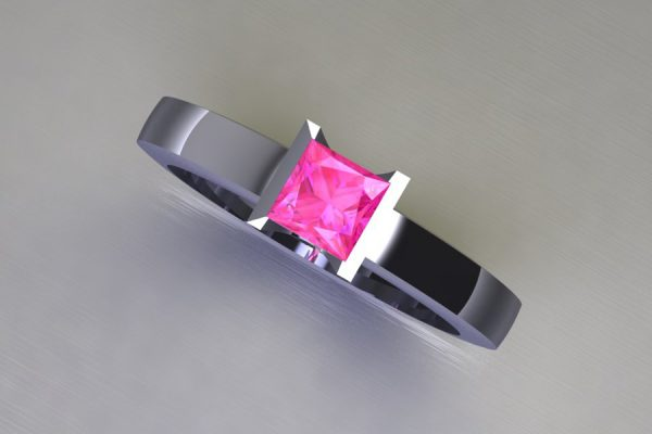 Princess Cut Pink Sapphire Platinum Ring Design by Robert Feather Jewellery