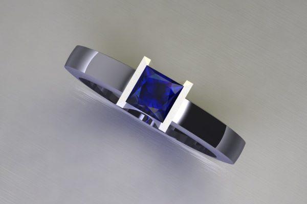 Princess Cut Sapphire Platinum Ring Design by Robert Feather Jewellery
