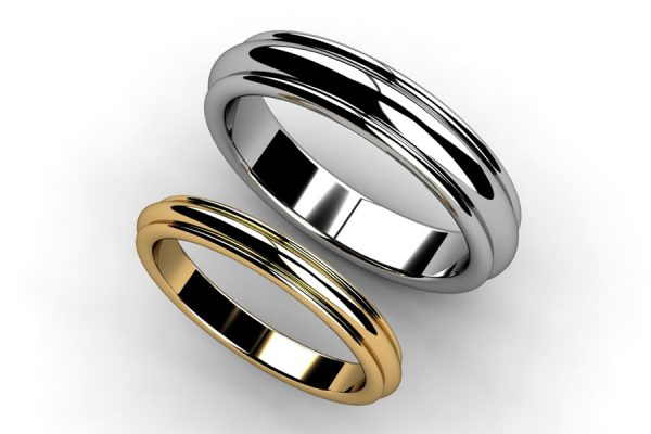 Ribbed Platinum & 18ct Gold Wedding Ring Designs by Robert Feather Jewellery