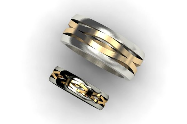 Harmonic Wave Shaped 18ct Gold Rings by Robert Feather Jewellery