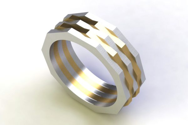 Ten Sided Two Coloured 18ct Gold Ring Design by Robert Feather Jewellery