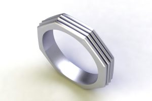 Octagonal Shaped 18ct White Gold Ring Design by Robert Feather Jewellery