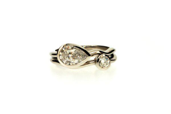 Pear & Round Brilliant Cut Diamond Platinum Ring by Robert Feather Jewellery