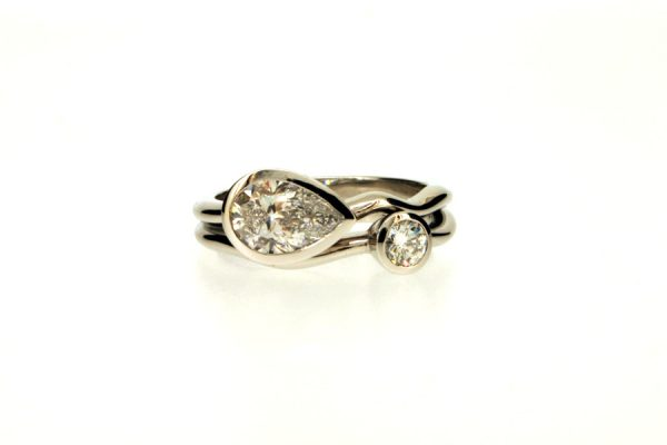 Pear & Round Brilliant Cut Diamond Platinum Ring by Robert Feather Jewellery