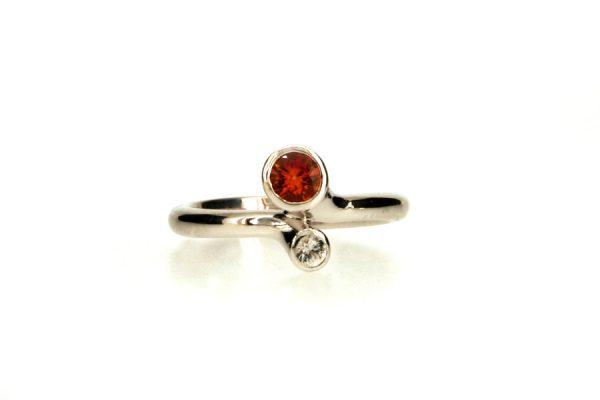 Round Orange & White Sapphire Silver Ring by Robert Feather Jewellery