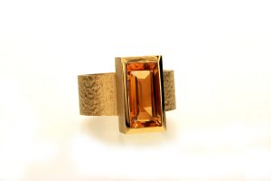 Baguette Cut Citrine 18ct Gold Ring by Robert Feather Jewellery
