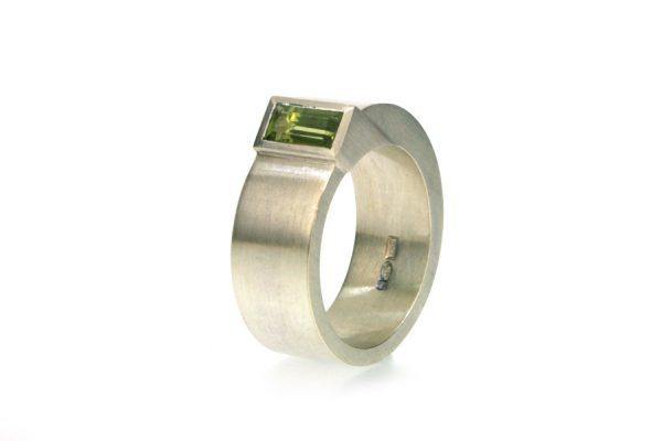 Baguette Green Tourmaline Silver Ring : Robert Feather Jewellery