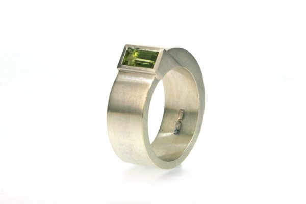 Baguette Green Tourmaline Silver Ring : Robert Feather Jewellery