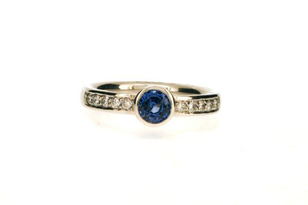 Sapphire & Diamond Set Platinum Ring : Robert Feather Jewellery
