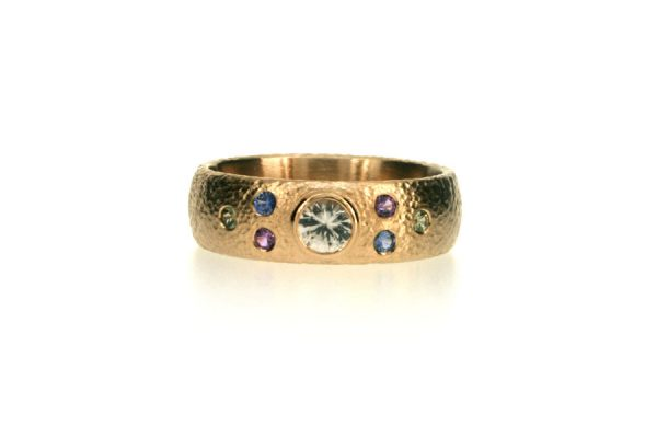 Round White & Coloured Sapphire 18ct White Gold Ring : Robert Feather Jewellery