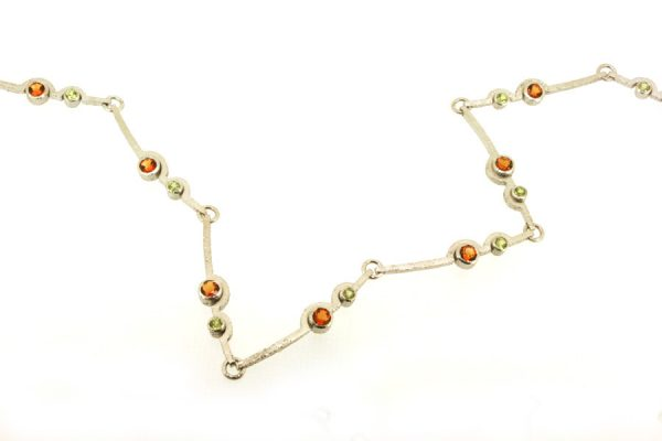 Cup Design Citrine & Peridot Silver Link Necklace : Robert Feather Jewellery
