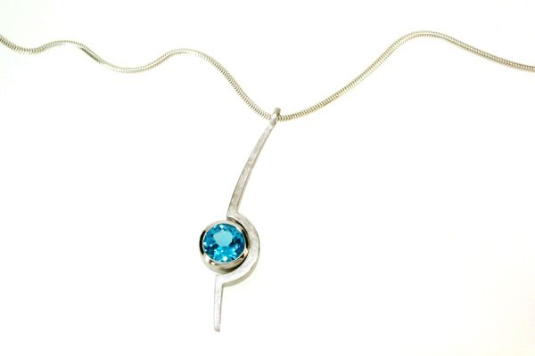 Cup Design Blue Topaz Silver Necklace : Robert Feather Jewellery