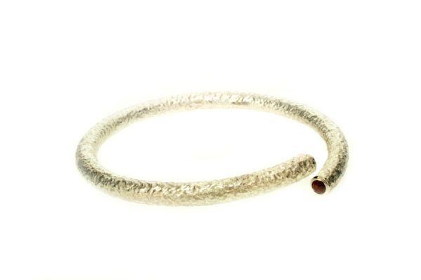 Stone Set Silver Textured Bangle : Robert Feather Jewellery