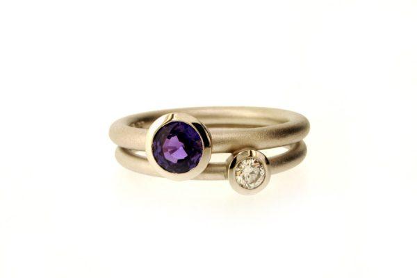 Purple Sapphire & Diamond Platinum Ring : Robert Feather Jewellery