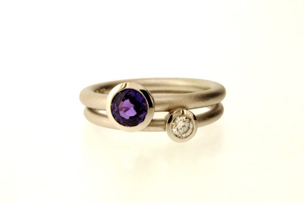 Purple Sapphire & Diamond Platinum Ring : Robert Feather Jewellery