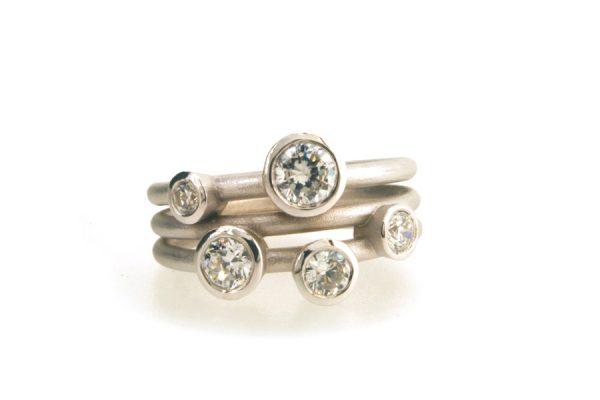 5 Stone Diamond Platinum Ring : Robert Feather Jewellery