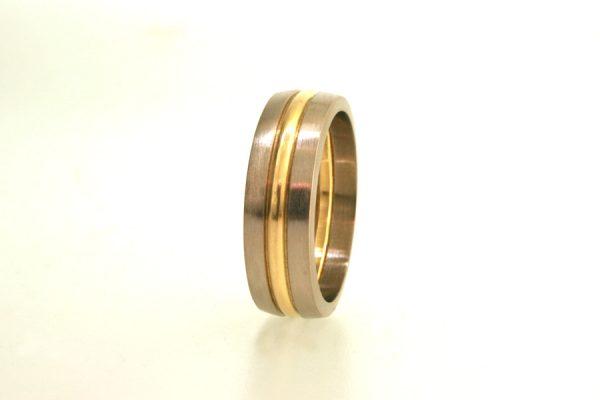 Three Coloured Band 18ct Gold Wedding Ring : Robert Feather Jewellery
