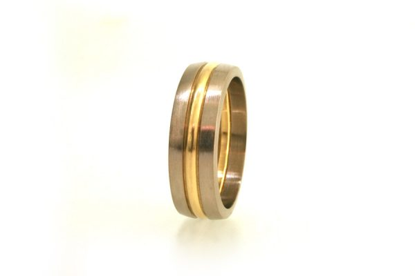 Three Coloured Band 18ct Gold Wedding Ring by Robert Feather Jewellery