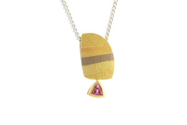Trillion Pink Sapphire 18ct Striped Coloured Gold Necklace : Robert Feather Jewellery