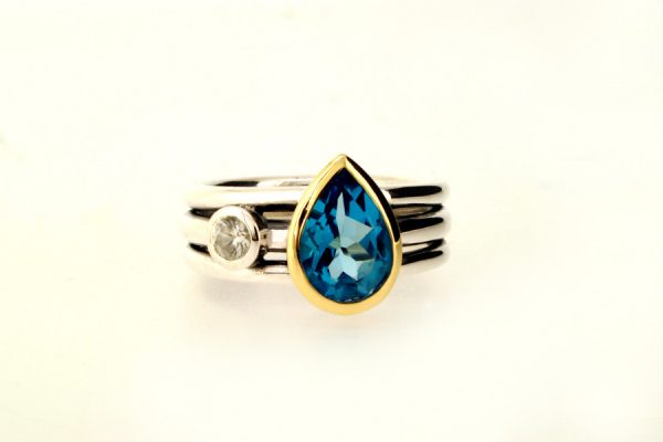 Pear Blue Topaz & White Sapphire Silver & 18ct Gold Ring by Robert Feather Jewellery