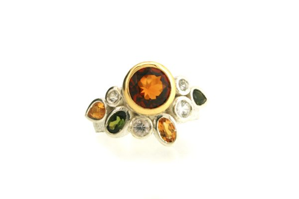 Citrine & Mixed Stone Silver & 18ct Gold Ring by Robert Feather Jewellery