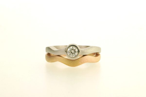 Diamond Platinum & 18ct Red Gold Ring by Robert Feather Jewellery